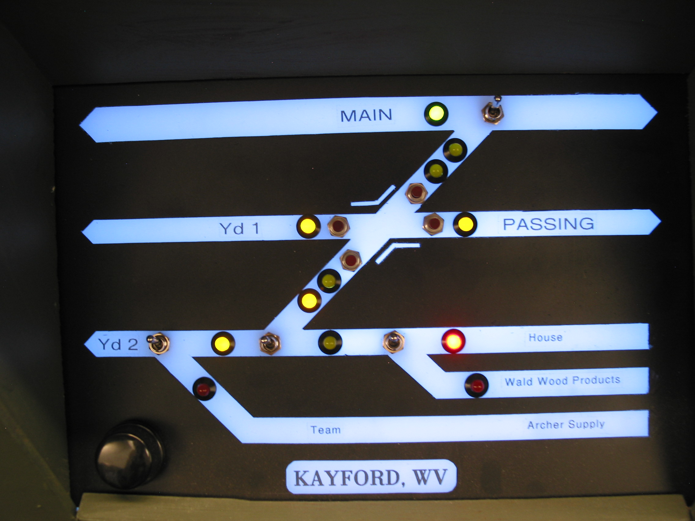 The Kayford, WV panel. Toggles select routes, but pushbuttons handle the double-slip. Just push the button(s) for where you wish go and the proper switch points move. The knob at the lower left dims these LED back-lit panels for night-ops.