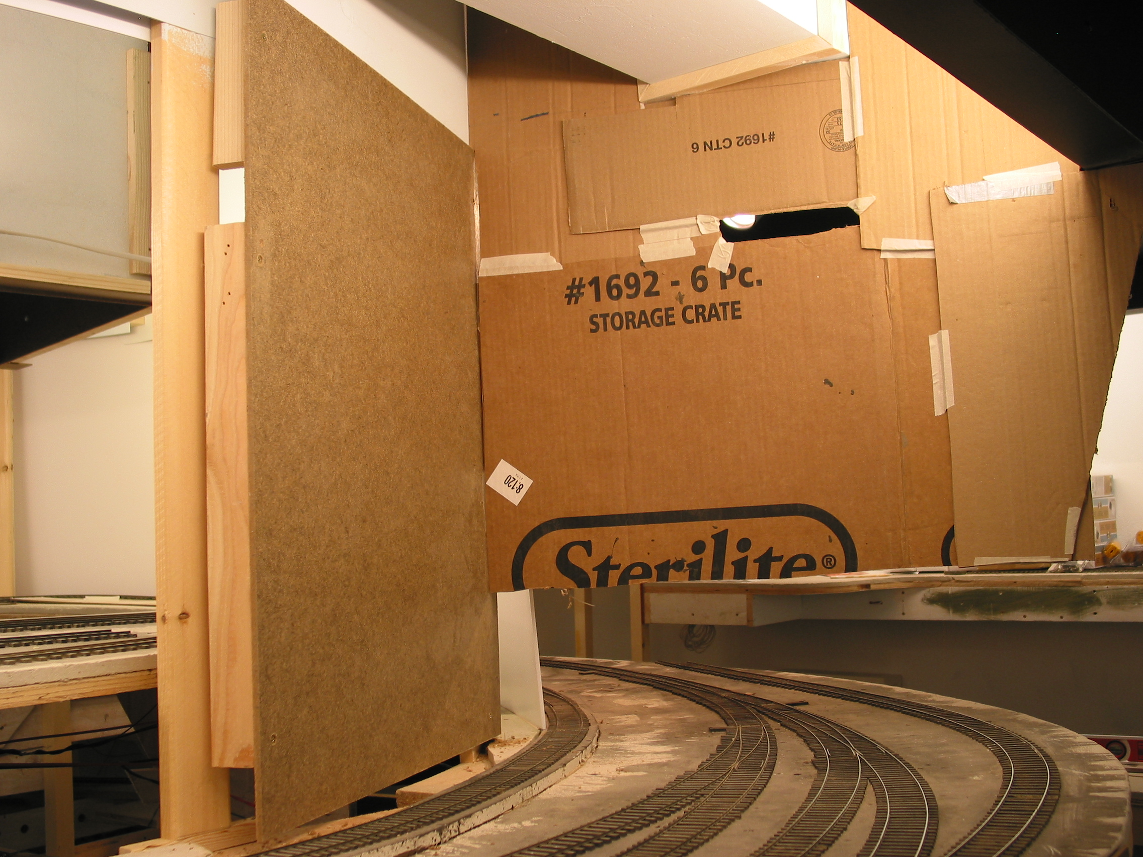 Looking the other way, a similar hardboard support and cardboard mockup were formed.