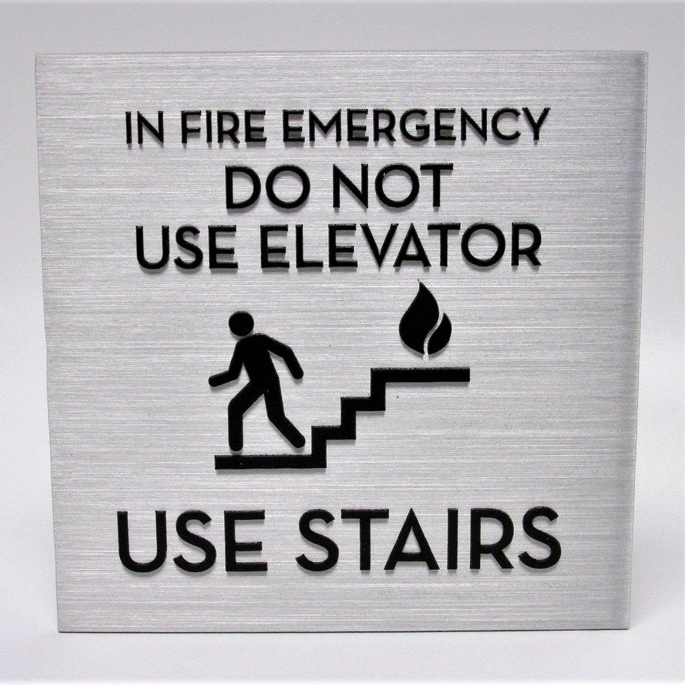 aluminum stairs emergency elevator sign