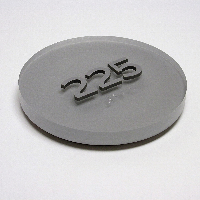 custom ada sign room number circle thick acrylic