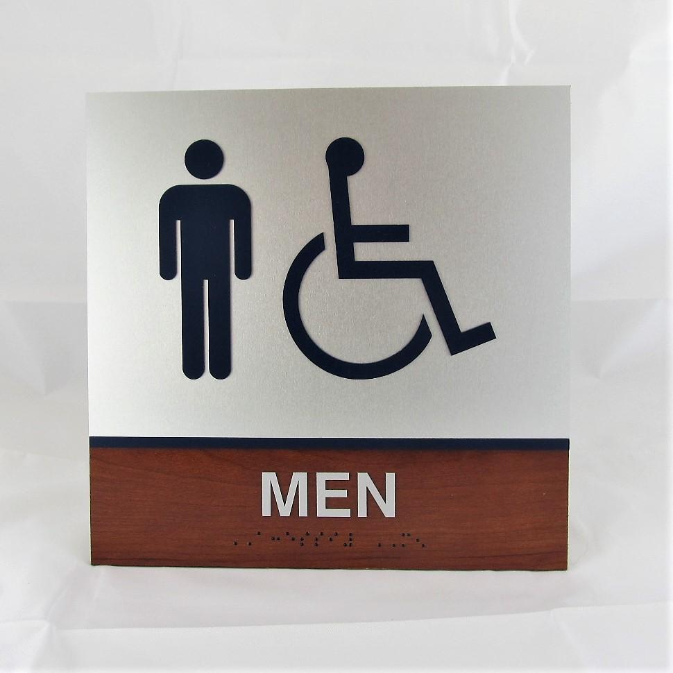 marathon oil men restroom sign aluminum wood