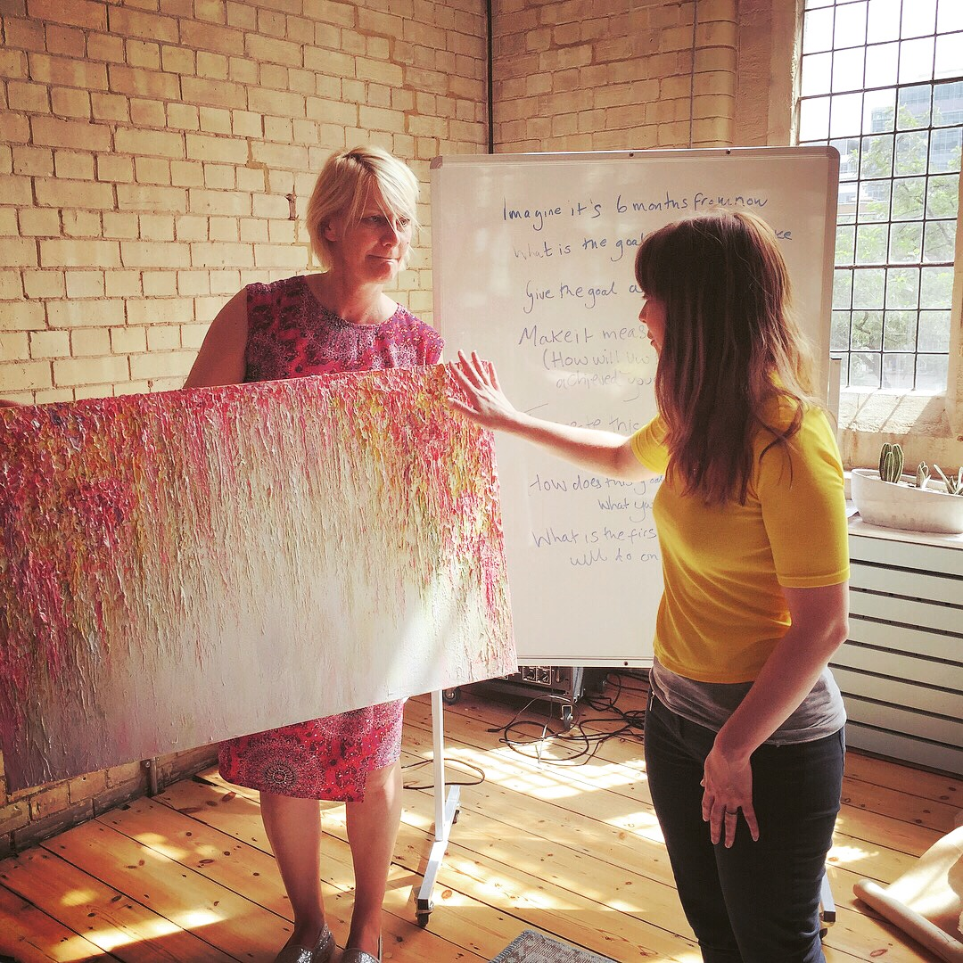 A special moment: Suzy Walker, Editor-in-Chief of Psychologies Magazine, receives her bespoke painting,'Spring Cascade', 91 x 61cm, Acrylic on Canvas