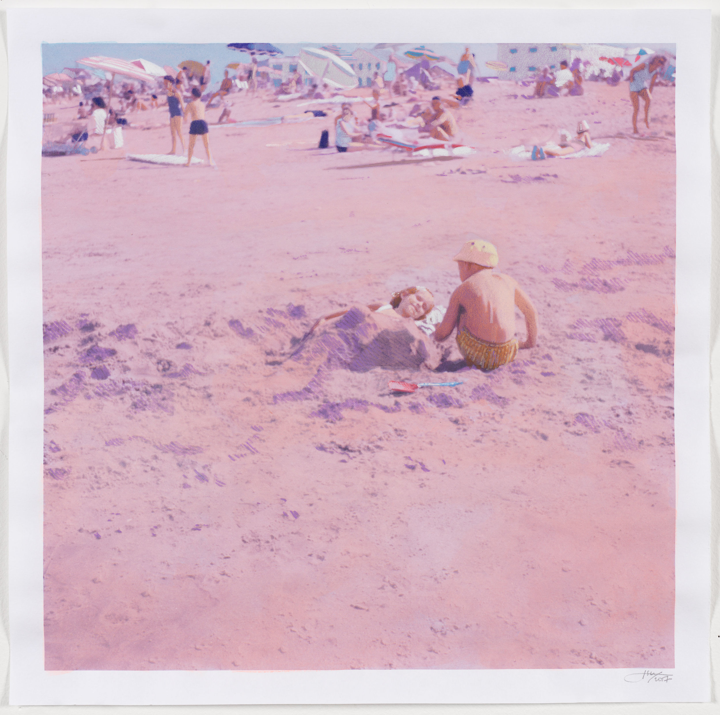 Isca Greenfield-Sanders  No Name (Beach),  2018 Mixed media watercolor with color pencil 15.5 x 15.5 in. Courtesy of the artist and Berggruen Gallery   View on Artsy