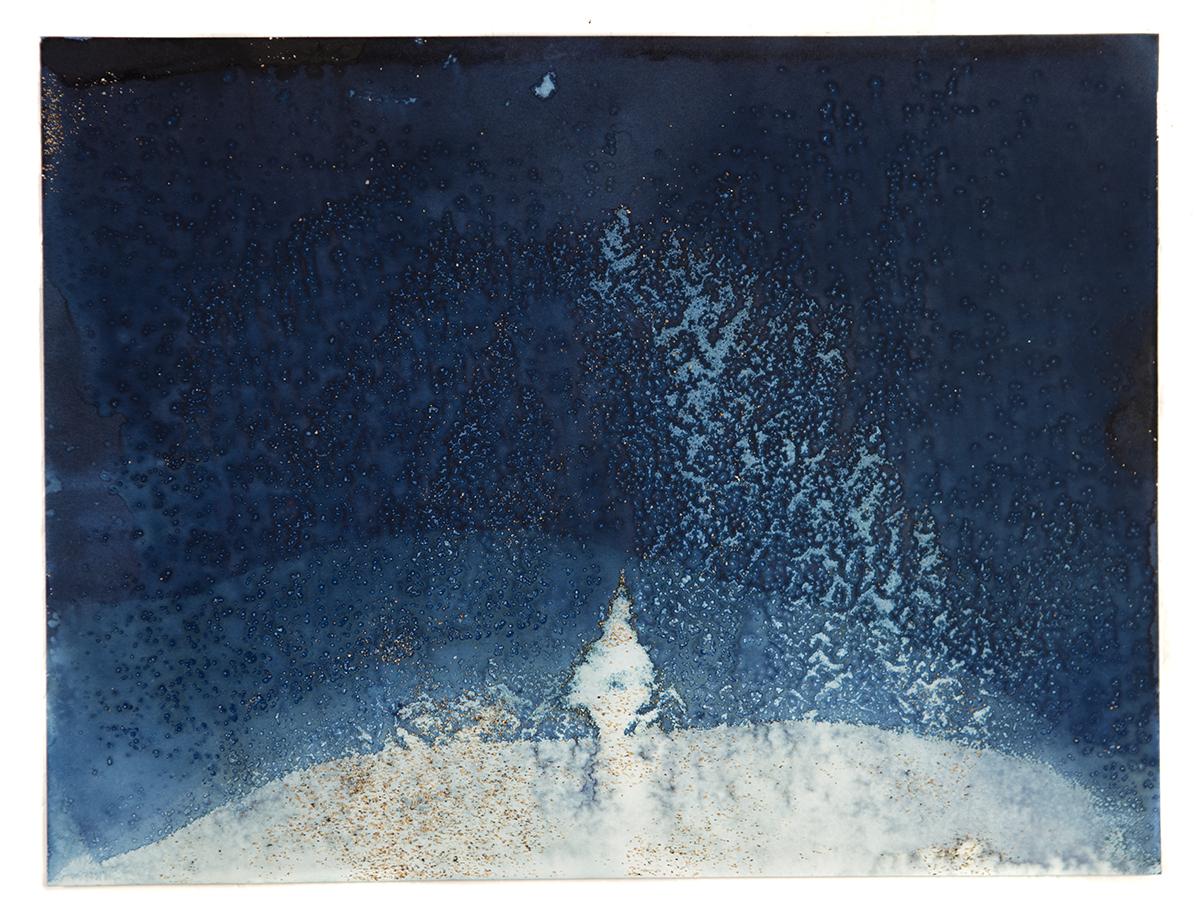 Meghann Riepenhoff  Littoral Drift #745 (Black Rock Beach, HI 09. 19. 17 ,  Three Waves) , 2017 Unique dynamic cyanotype 12 x 9 in. Courtesy of the artist   View on Artsy