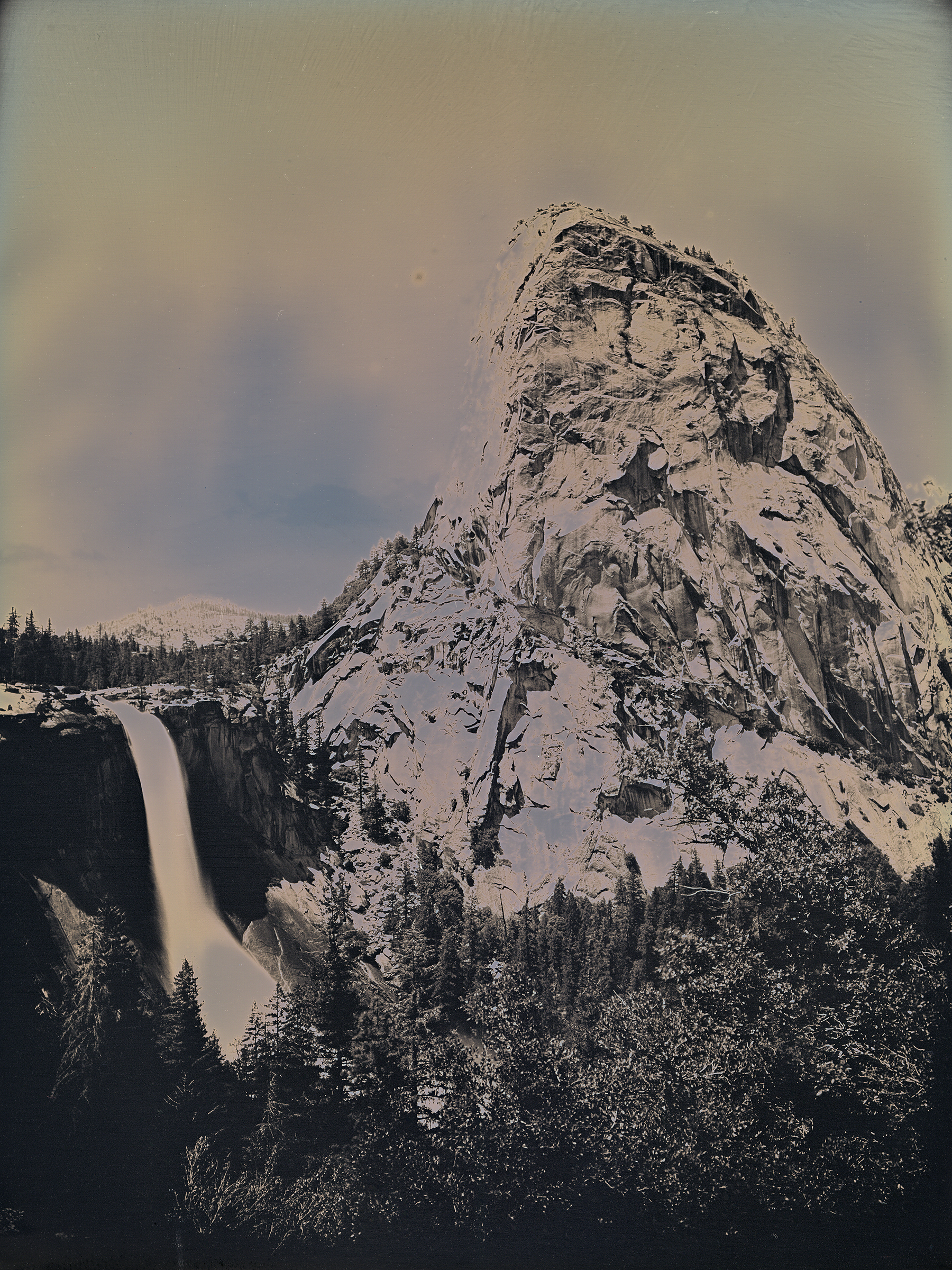 Binh Danh  Nevada Fall and Liberty Cap, Yosemite, CA , 2017  Daguerreotype 11 x 9 x 1 in. Courtesy of the artist and Haines Gallery, SF   Framing courtesy of The Painters Place    View on Artsy