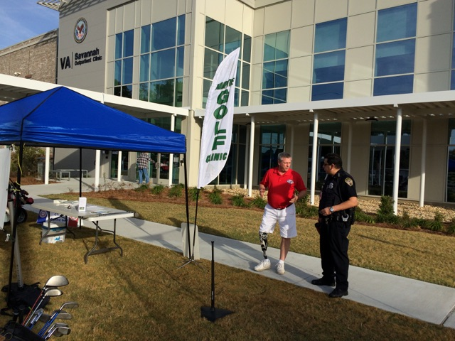 Holding an Adaptive Golf Demonstration at the Savannah VA Clinic.
