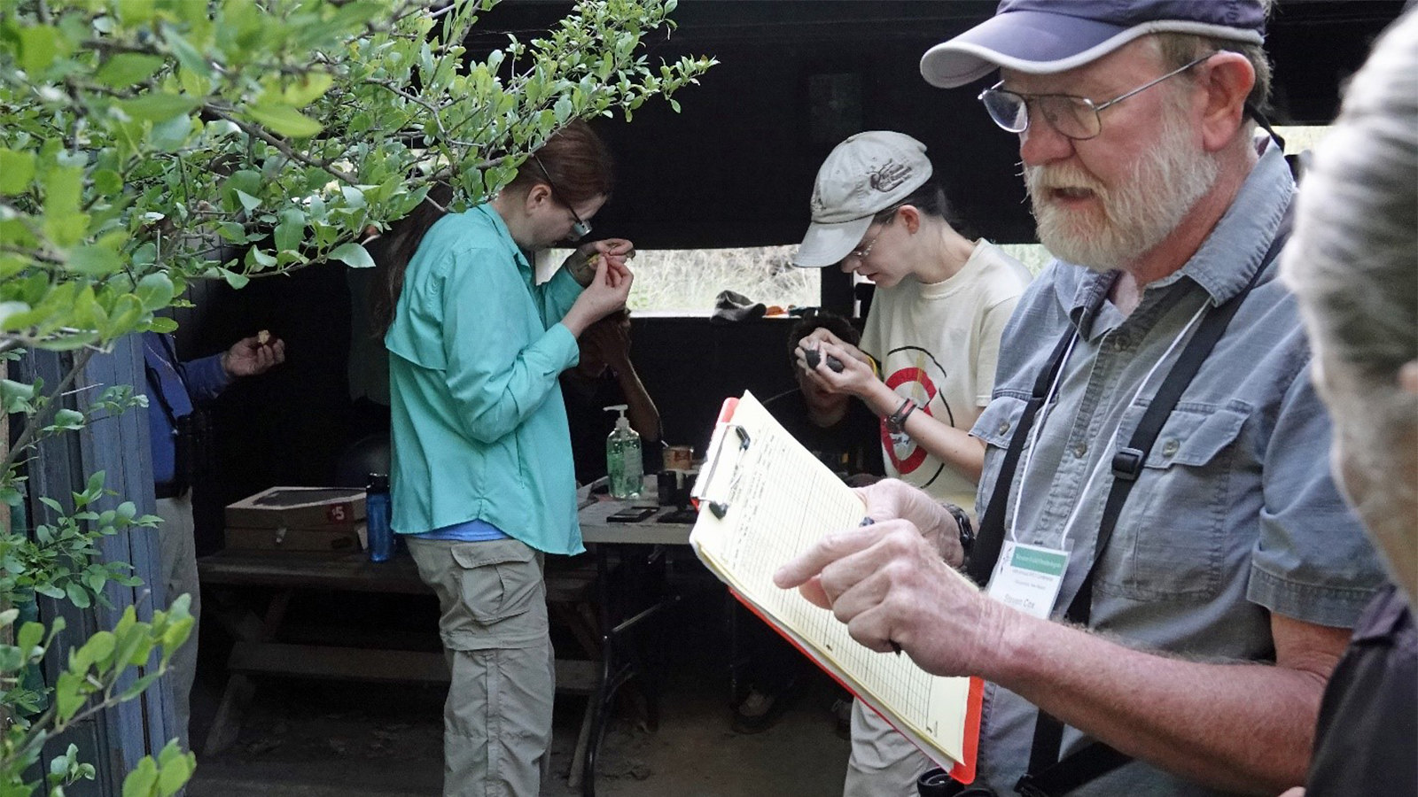 Steve Cox and volunteers at the Rio Grande Nature Center State Park banding station, Albuquerque, NM.
