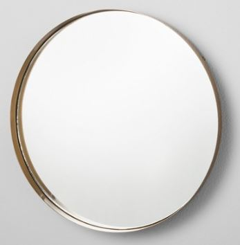 Round Mirrored Brass Tray