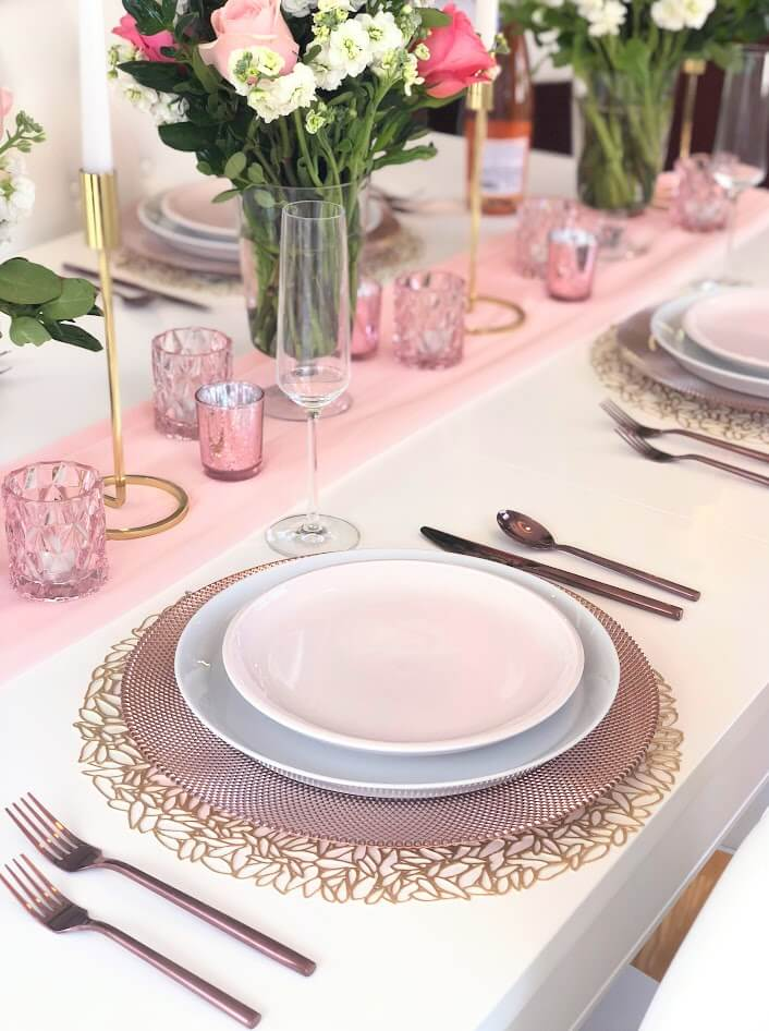 Blush Rose Gold Table Setting