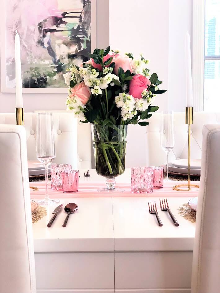 Blush Pink Rose Centerpiece