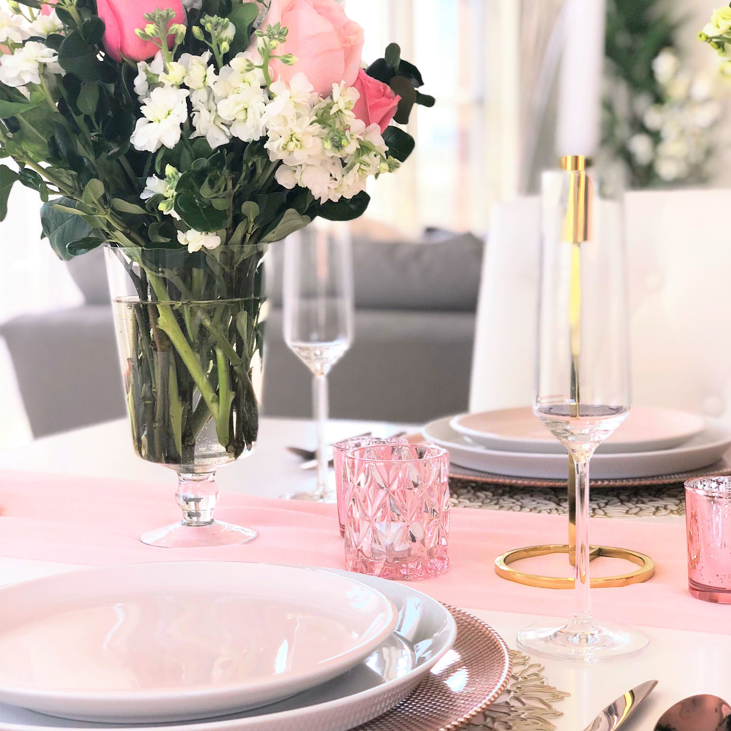 Blush Tablescape Table Setting
