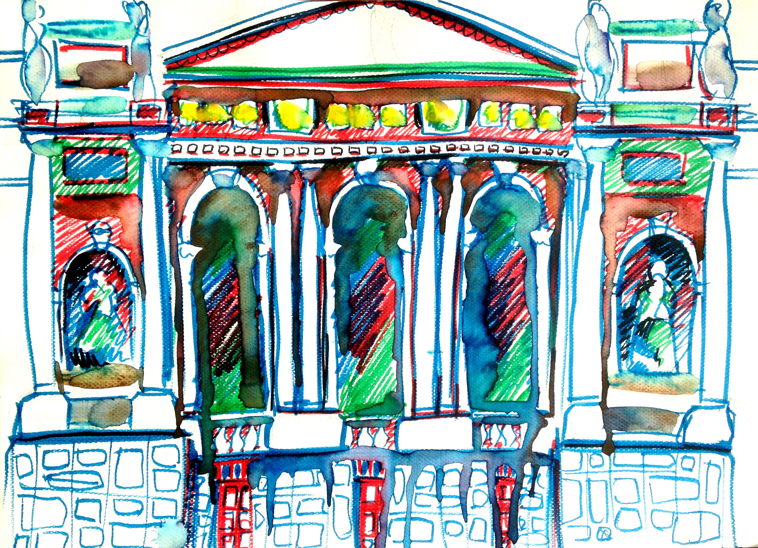 Lviv Theater of Opera and Ballet.  Watercolor, paper.