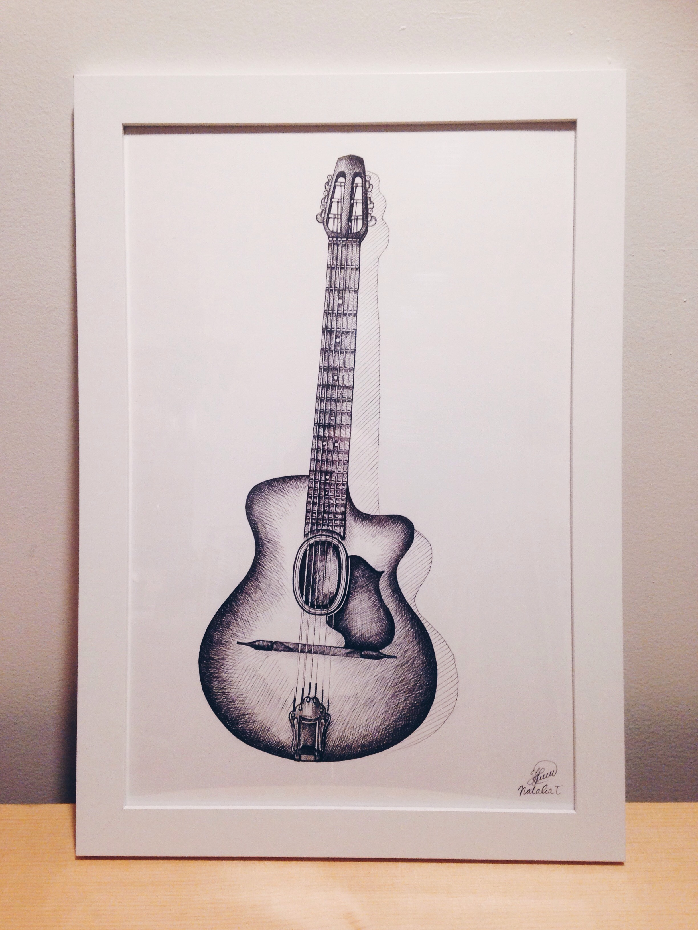 "The artwork 12""x18"" done for a luthier  Josh Greenberg  at  Mile End Guitar Coop  of one of his beautiful creations."