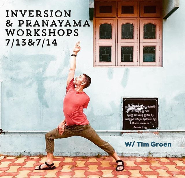 "✨✨THIS WEEKEND✨✨ With @timgroen  SAT July 13: """"Upside Down, inversions for all"". In this fun two-hour inversion workshop you'll get to work on your confidence and skills in a variety of  upside down postures. Think: headstand, tripod handstand, forearm stand, and more. You'll build confidence and walk away with tools for strength building and safe alignment. Includes deep relaxation and meditation. ✨✨✨ SUN July 14: ""Yoga and Pranayama, Deepen Your Practice"" . Pranayama is the dosing, timing and regulating of the breath, in order to control the flow of Prana, or life force, in your system. During this hatha yoga class (be prepared to practice!) you will be working on more than eight types of yogic breathing exercises. Includes deep relaxation and meditation. ✨✨✨ Tim Groen (RYT-500) is an Amsterdam born, New York City-based Jivamukti Yoga and advanced Hatha Yoga teacher. #inversions #yogatraining #pranayama #yogahudsonvalley #hudsonvalleyhappenings #yoga #yogateachertraining"