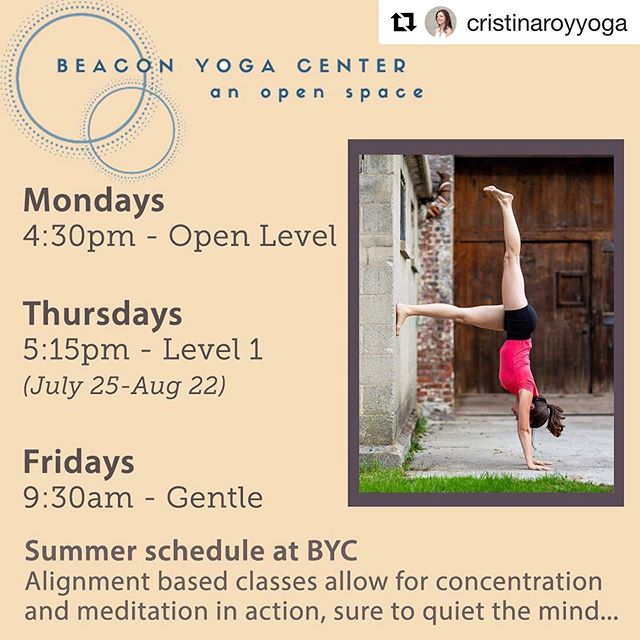 Cristina is back from vacation and back to teaching her regular classes @beacon_yoga_center  Several options to choose from ✨ Mondays 4:30pm #alignmentyoga  Thursdays 5:15pm #hathayoga  Fridays 9:30am #gentleyoga #restorativeyoga  #seeyouonthemat #beaconny