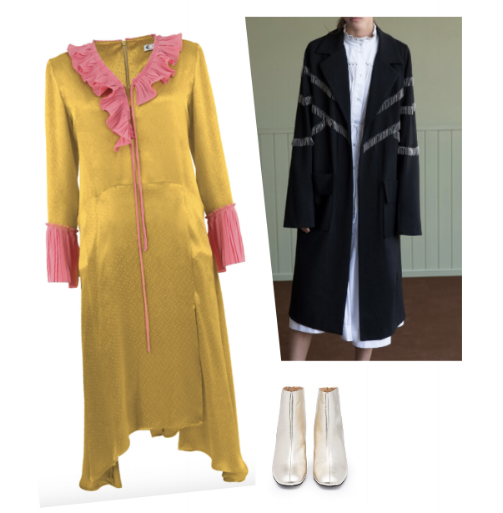 A colorful alternative to Dinah's choice. Clockwise from top: Black Jacket with fringe, Sabina Musayev, Silver Jessie boots, Country road, Yellow and pink in the pleat of night dress, Trelise Cooper