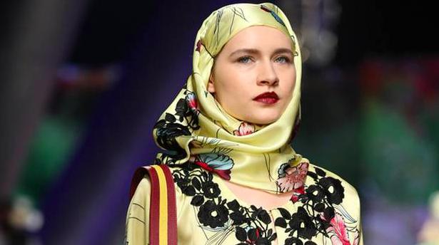 A model on the runway at Arab Fashion Week in Riyadh