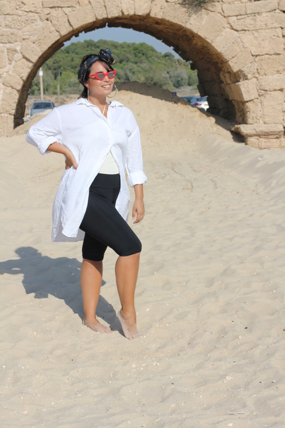 Hannah wears Scarf, Vela scarves ,  Sunglasses, TopTen , Linen Shirt, H&M, Bathers, Model's own,  Swimwear UV leggings, SeaSecret