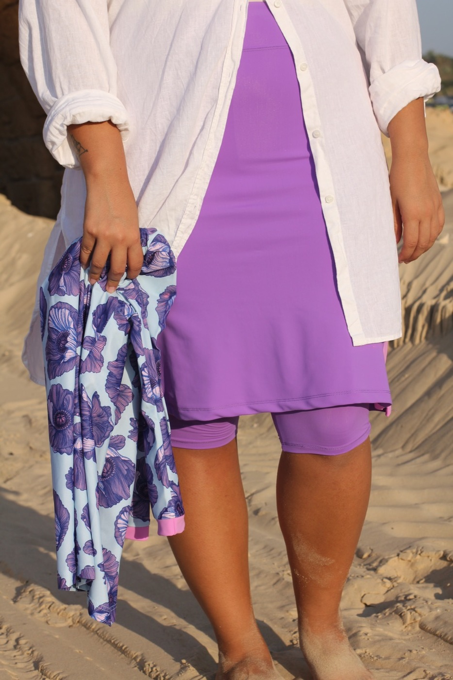 Matching purple flower top and skirt with leggings, Amanda K ,