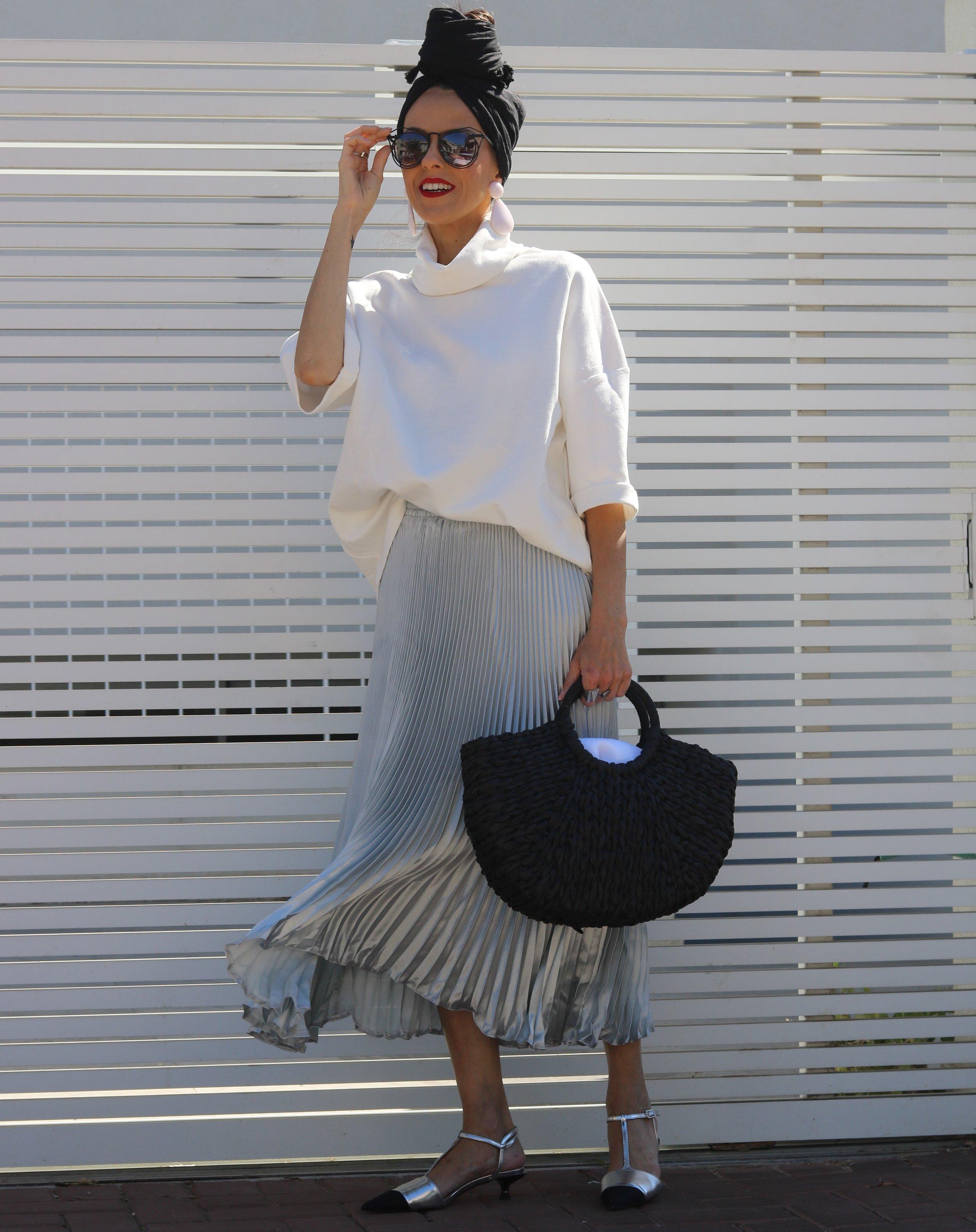 Top, Zara, Skirt, AliExpress, Shoes and Bag, both Zara, Sunglasses, Meirav's one, Earrings, Zara