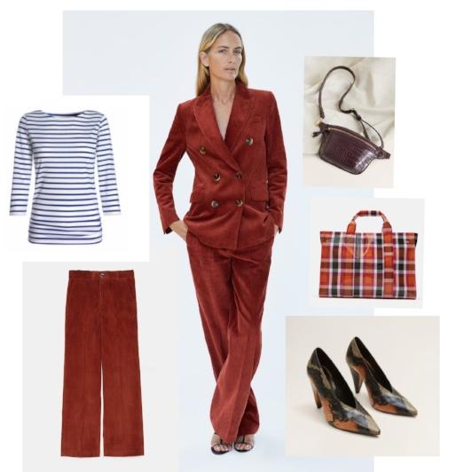 Clockwise from top: Striped top, Bretton, Corduroy Suit, Zara, Cross pouch bag, Stradivarius, Check plastic bag, Zara, Shoes, TopShop