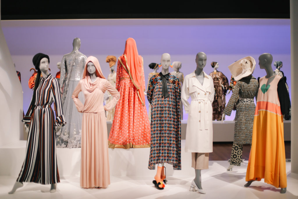 "Installation view of ""Contemporary Muslim Fashions"" at the de Young Museum in San Francisco."