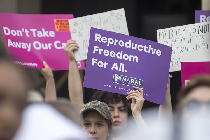 ASSOCIATED PRESS  Protesters rally outside of the Georgia State Capitol following the signing of Georgia's bill restricting abortions on May 7, 2019.