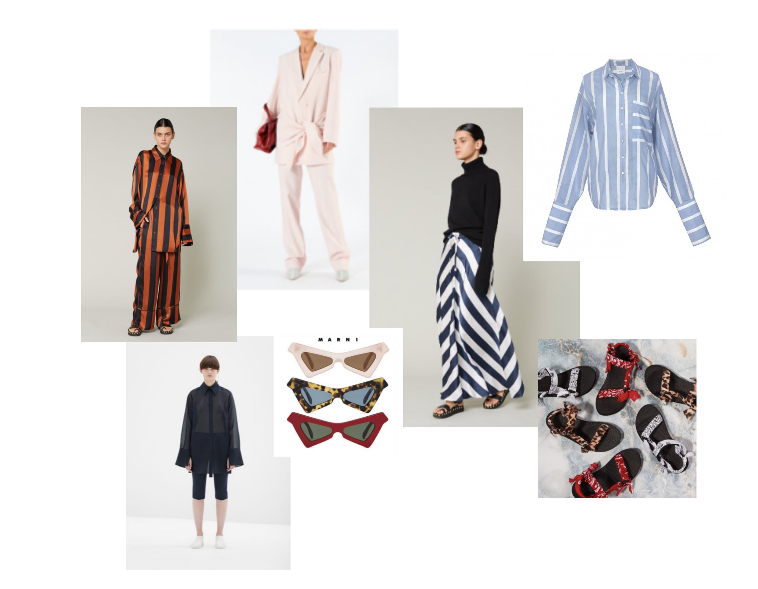 My Summer Edit, clockwise from top: Oversized Shirt and leggings, COS, Coordinates, Lee Mathews, Blazer and Pant, Tibi, black shirt and striped skirt, Lee Mathews, Oversized blouse by Ronnen Chen x MMMWA, Sandals, Arizona LOVE, Sunglasses, Marni #WraptbyChav