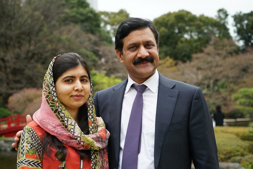 Ziauddin Yousafazi with his daughter, Malala.  Photo by Hannah Orenstein .