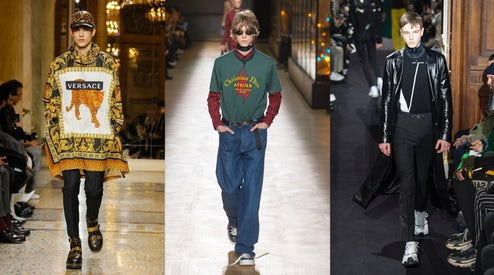 From left to right: Versace, Dior Homme, Valentino