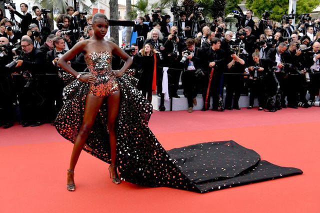 Actress Leomie Anderson on Rami Kadi Couture on the Cannes Red carpet