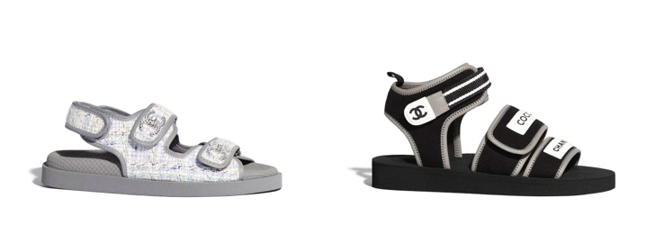 Chanel Sandal, right; Tweed and Lambskin, $1175US and left; Black and grey, $975US