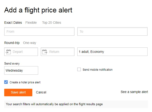 Kayak Offers Trip Alerts With Push Notifications Or Daily E-mails To Help Travelers Know When To Buy