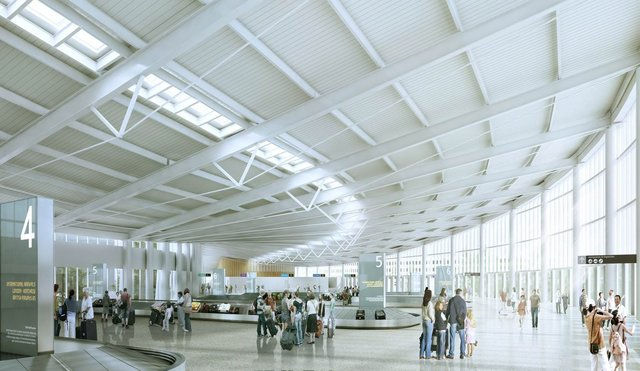 An artist rendering of the new $830m International Arrivals Hall at Seatac International Airport in Seattle.  It is scheduled to be completed in 2021.  (Courtesy of the Port of Seattle)
