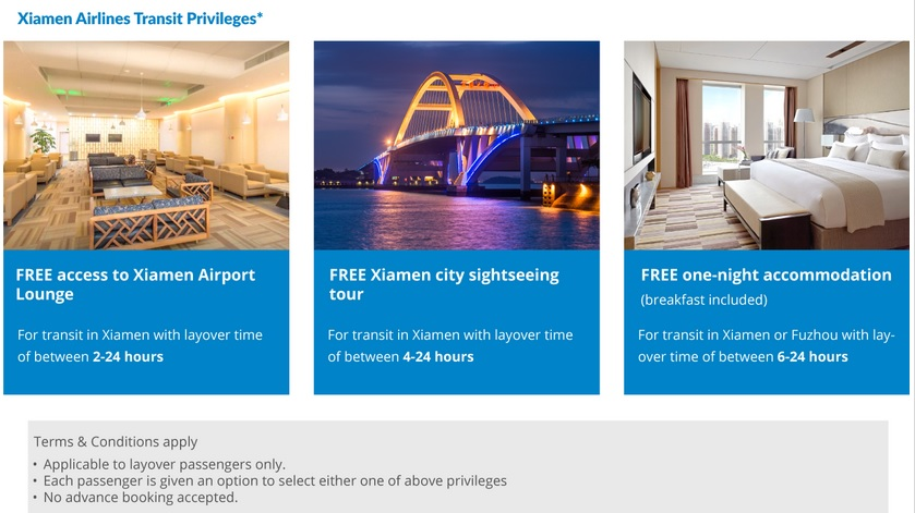 Xiamen Airlines offers International Passengers a choice of three transit privileges.  For a 30 hour itinerary, a good night sleep can be crucial to having a successful trip.