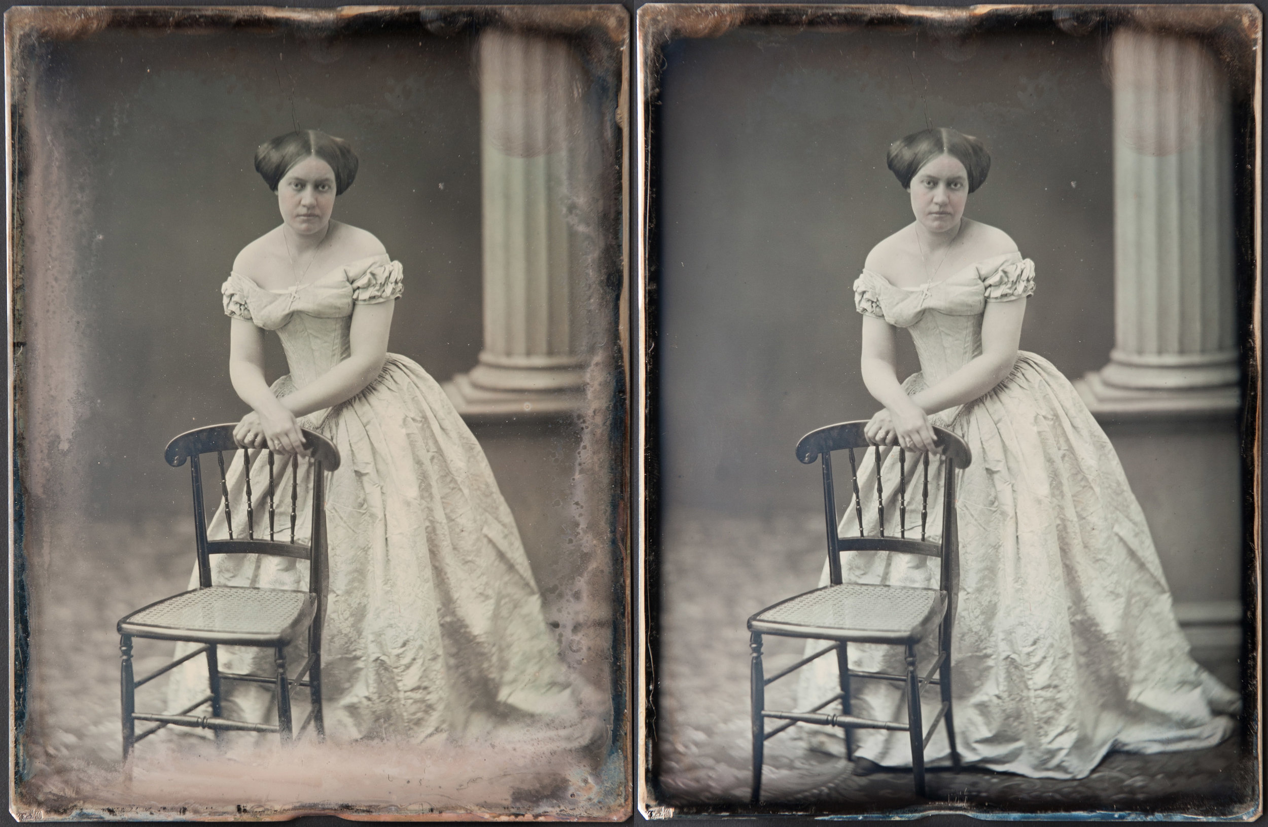 - Southworth & Hawes daguerreotype with applied colour - before and after treatment