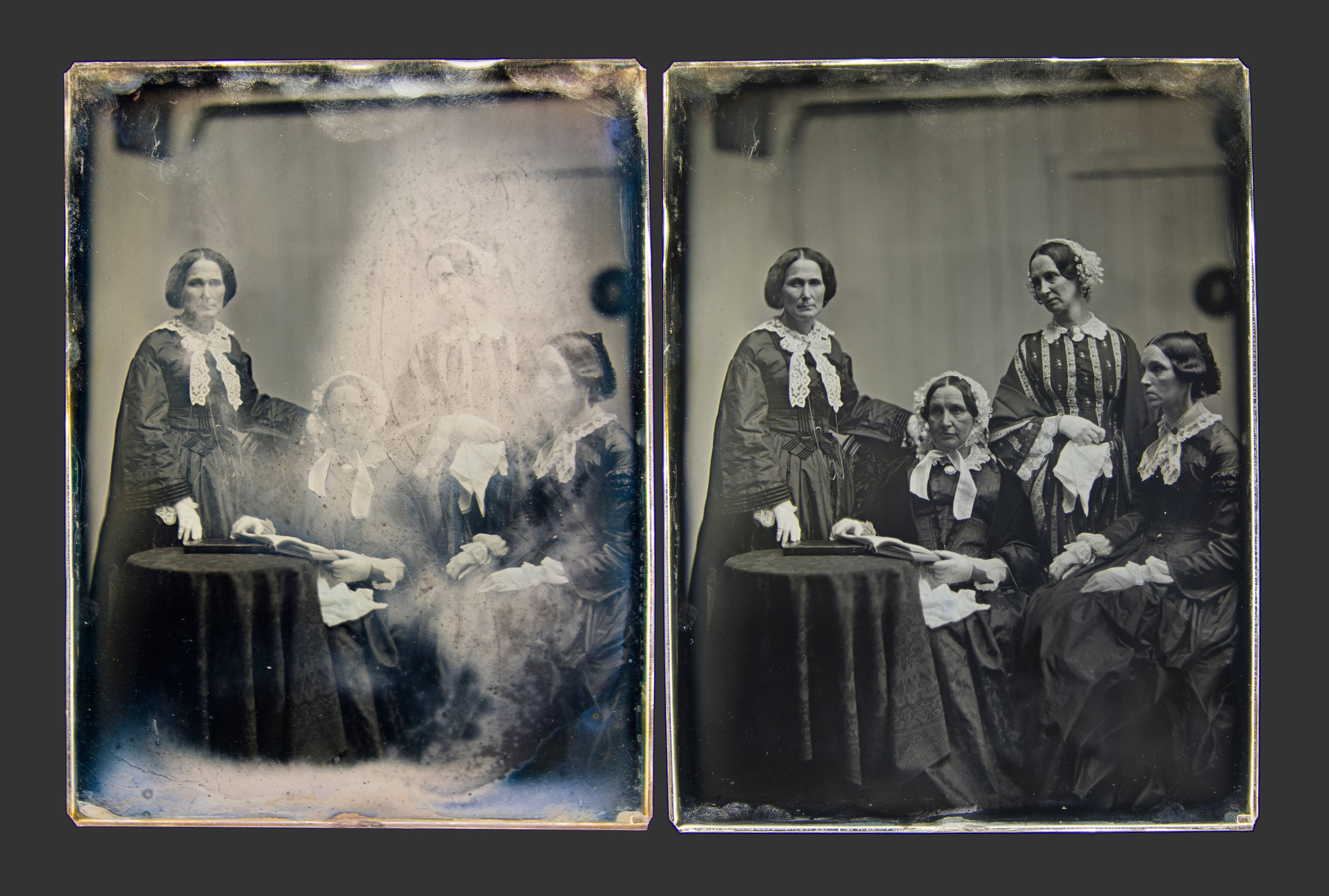 - Southworth & Hawes Whole-plate. Half of a stereo pair - before and after treatment