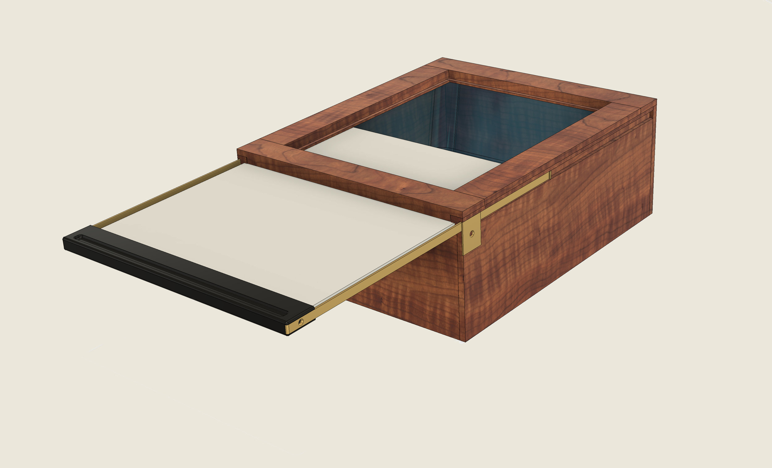 Century Darkroom Sensitizing Boxes are designed to be compact and easy to operate. The sensitizers are contained in Pyrex© glass trays with their top edge ground flat to seal against the 3 mm thick ground glass slide. -