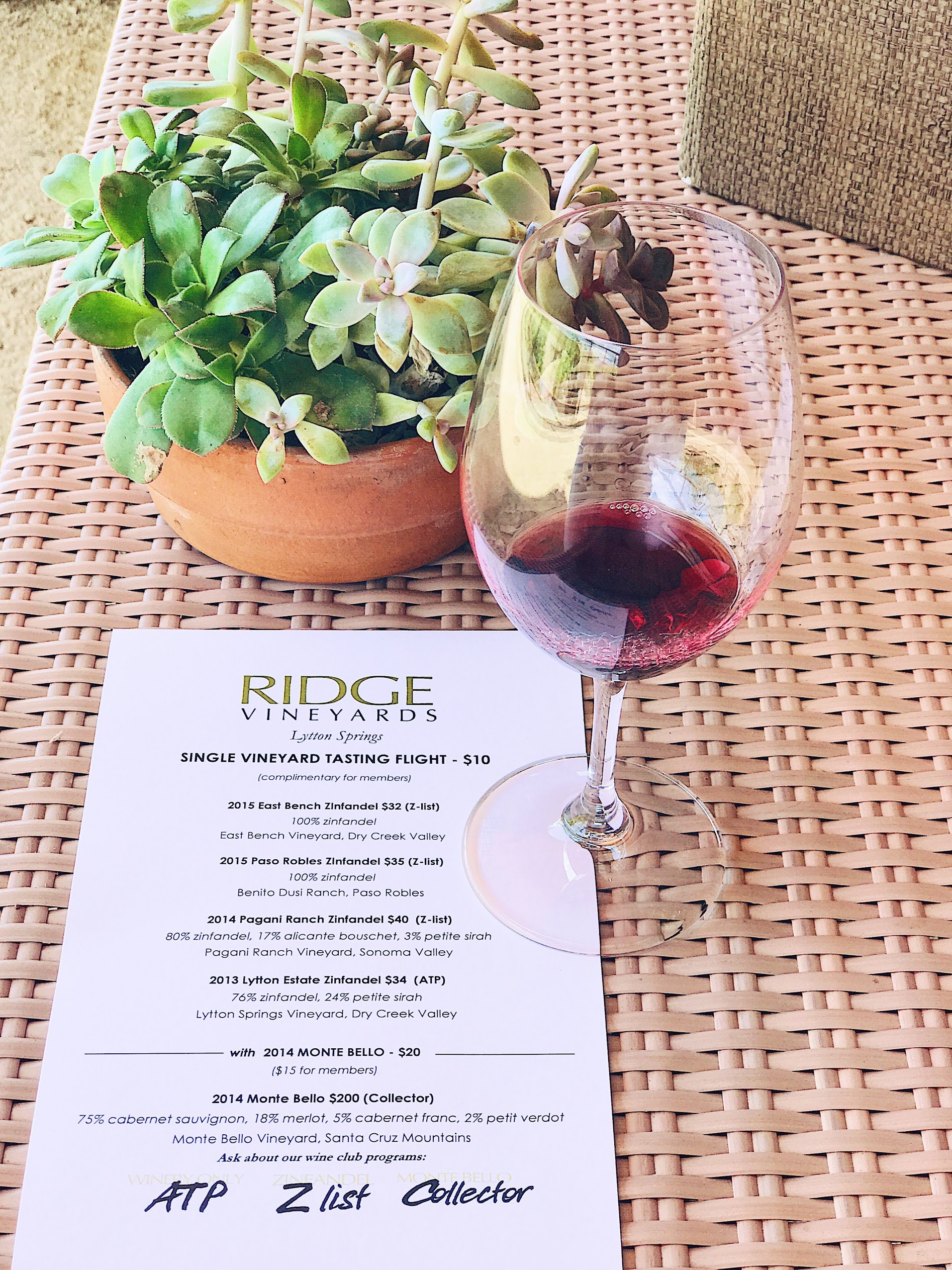Wine Tasting At Ridge In Healdsburg