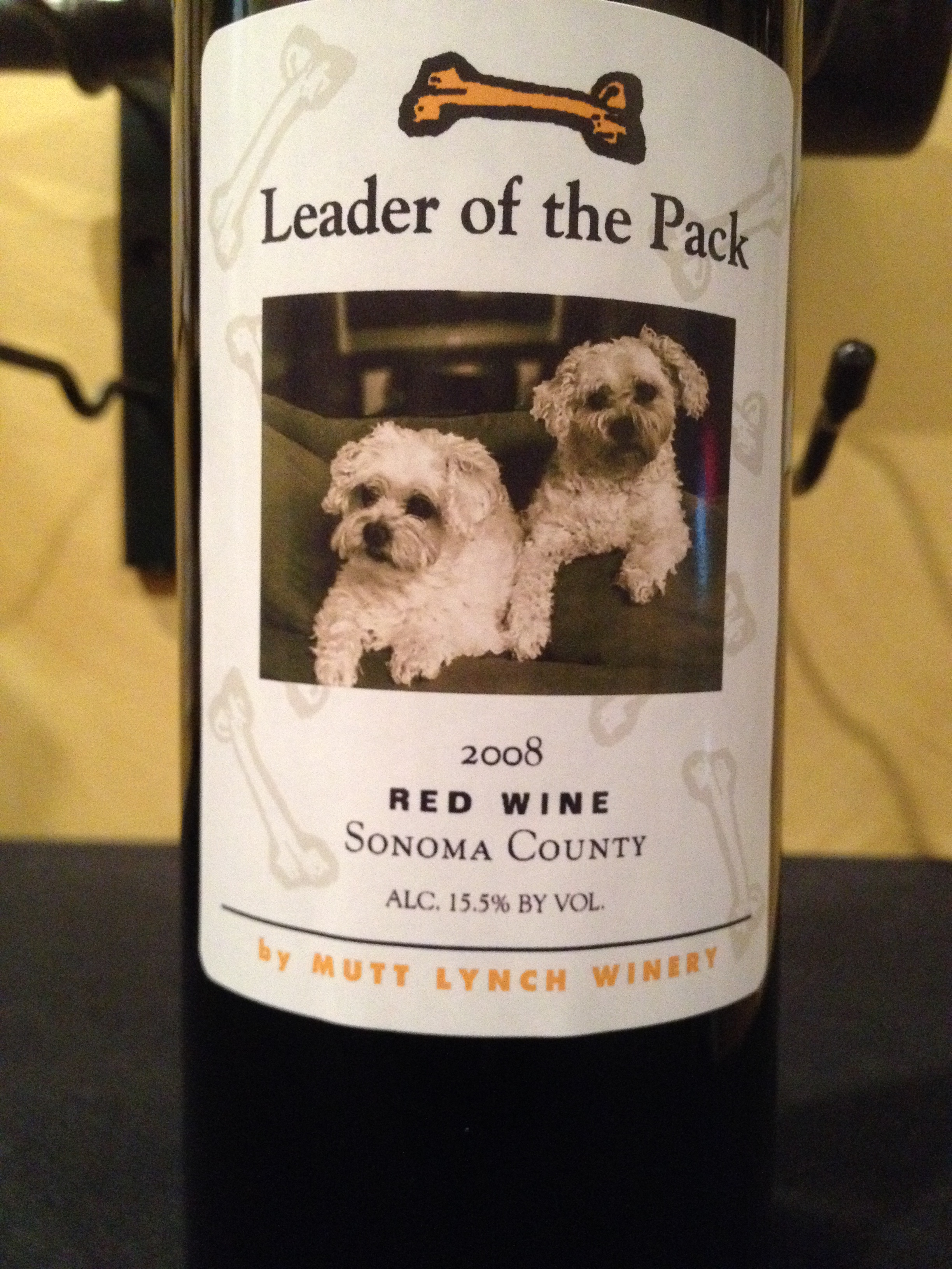 Leader Of The Pack Customized Wine Bottle Mutt Lynch