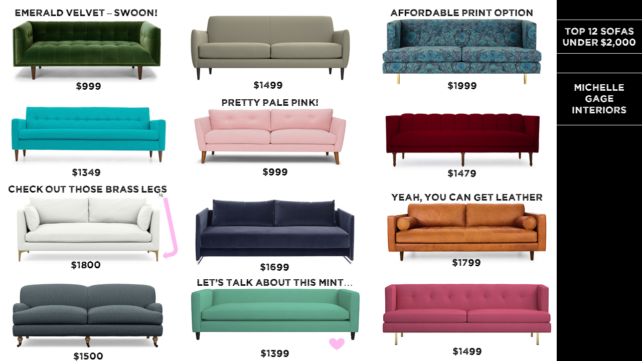 Michelle Gage // Product Round Up: Top 12 Sofas Under $2,000