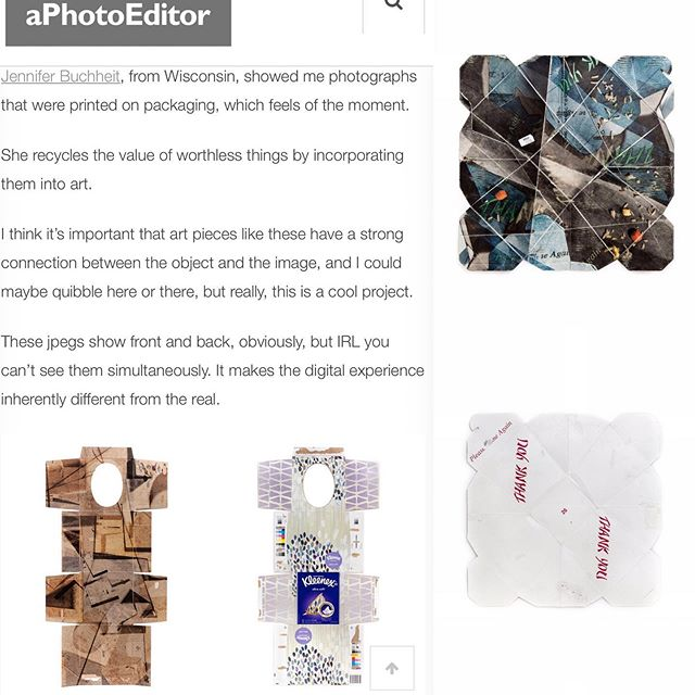 """Sending a huge thank you to Jonathan Blaustein at """"A Photo Editor"""" for including my work in today's feature """"The Best Work I Saw at Photolucida: Part 4."""" Very grateful to have met with Jonathan at Photolucida and received his thoughtful feedback.  #photolucida2019  #jenniferbucheitphotography  #fineartphotography  #womeninthearts #cosumerismart #recycledart"""