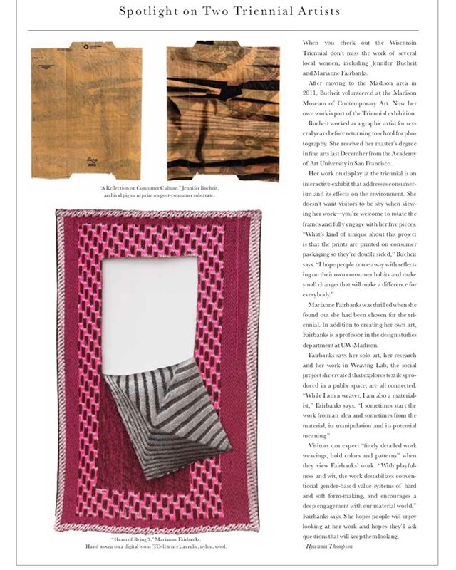 "So honored to have my work featured in the October issue of @bravamagazine in their article ""Cream of the Crop: The Wisconsin Triennial showcases select contemporary artists."" The Triennial opening is October 18 from 6-9 @mmocamadison—hope to see you there!  #wisconsintriennial2019  #mmocamadison  #jenniferbucheitphotography  #consumerart #environmentalartproject"