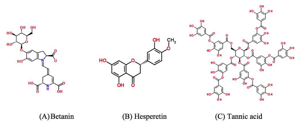Figure 6. Chemical structures of betanin, hesperetin, and tannic acid.
