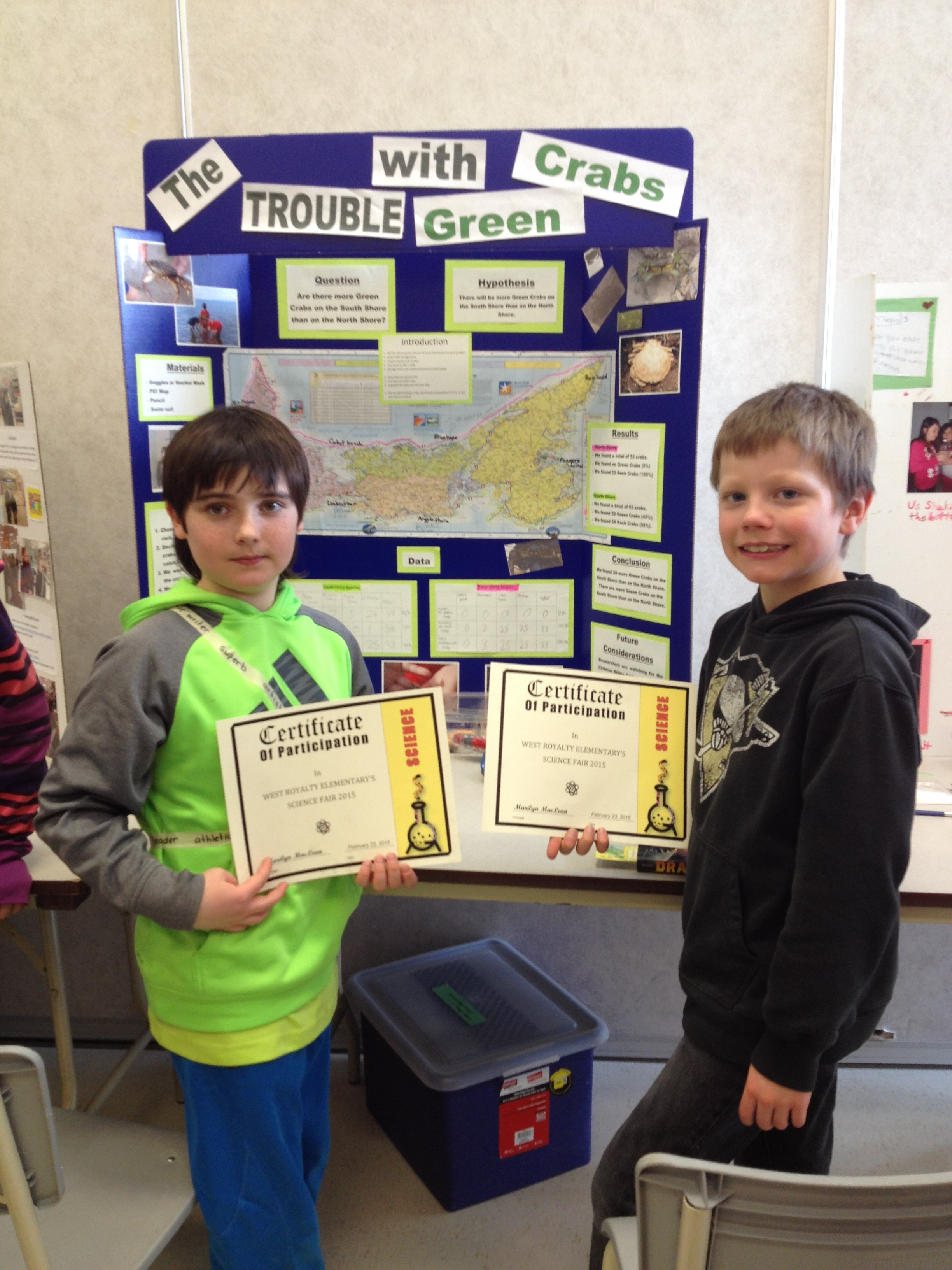 About the Authors - Liam and Liam both attended West Royalty Elementary school at the time of completing the project. They both now attend Queen Charlotte Junior High School and started grade 8 in the Fall of 2018. They love sports, music and still enjoy hunting for crabs.