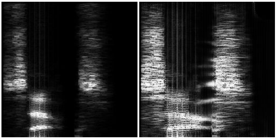 Figure 1. Real spectrogram (left) and faked transfer to another voice (right), which fools D but not D*.