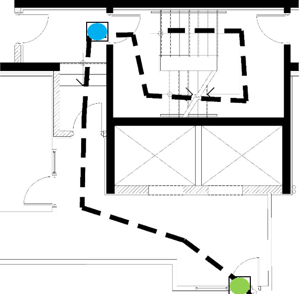 Figure 3. Stairwell test environment. Figure 4. Experiment #1 (E-1) – Fastest Muscle – Test Locations.