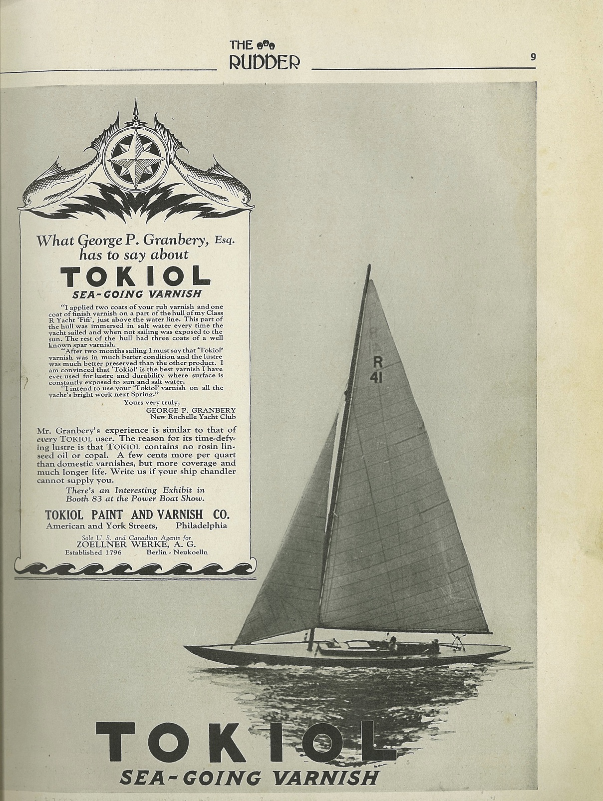 """FIFI featured in advertisement in """"The Rudder"""", January 1927"""