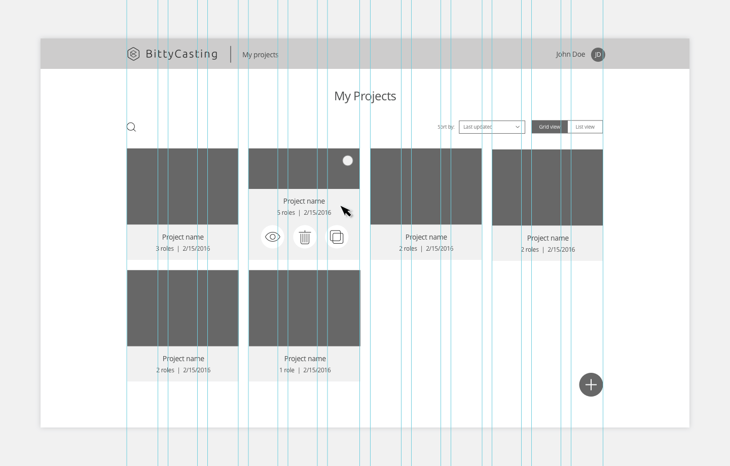 Example of the wireframe screen