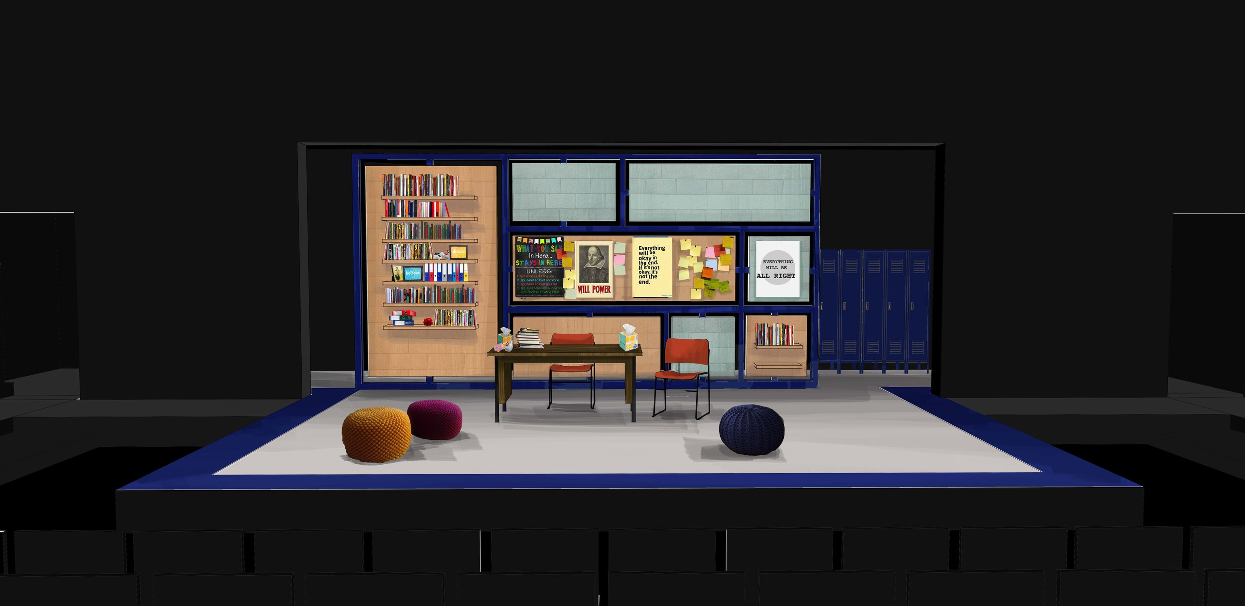 Theatre rendering for 'The Dream of the Burning Boy' by David West Read - counselor's office